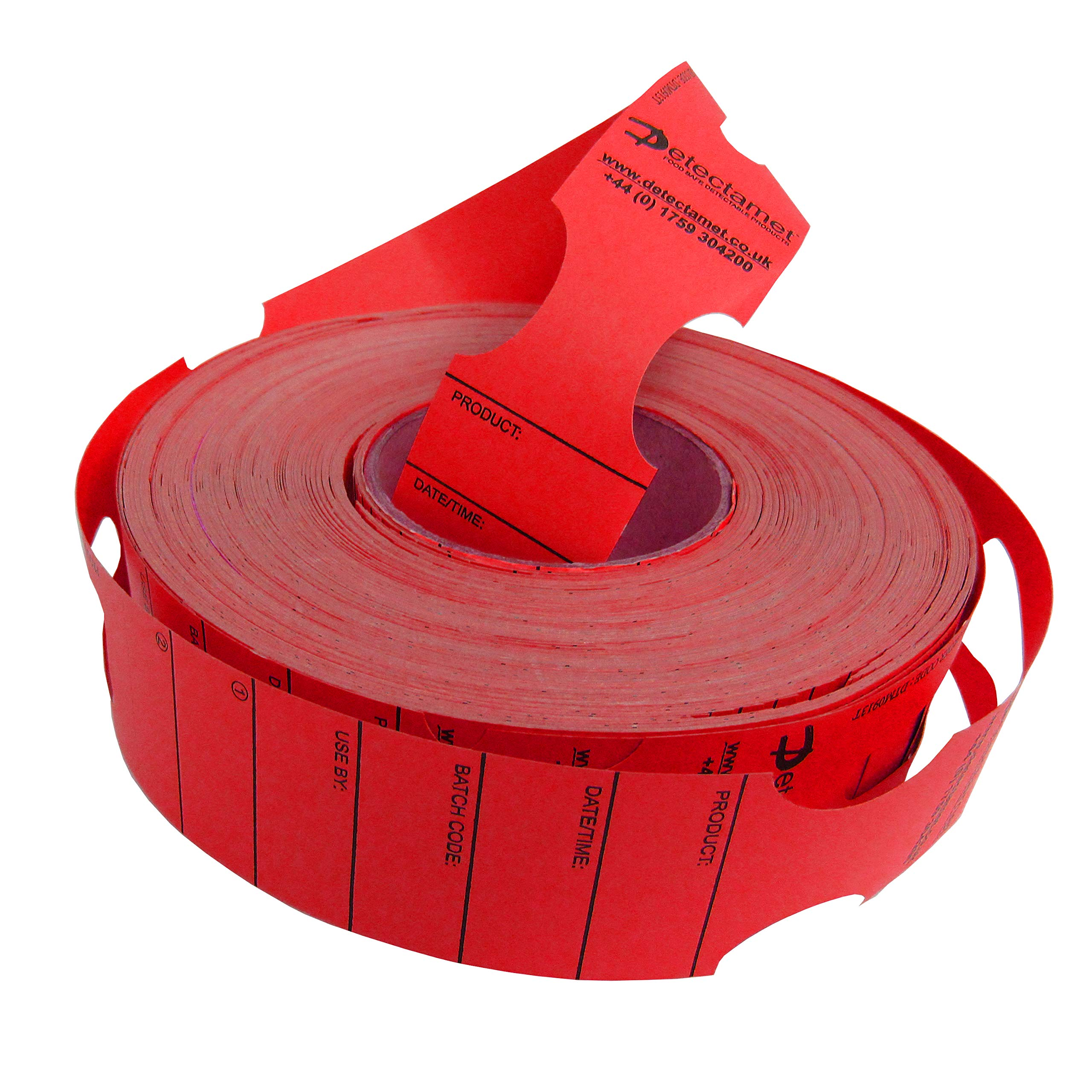 Metal Detect Keyhole Tags Red 48x279mm High Heat Roll 500