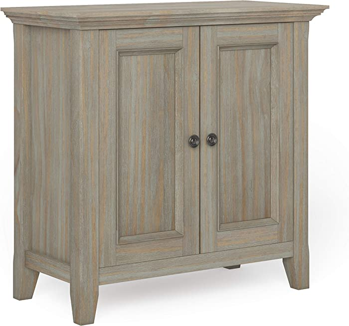 Simpli Home Amherst SOLID WOOD 32 inch Wide Transitional Low Storage Cabinet in Distressed Grey, with 2 Panel Doors, 2 Large Storage Spaces with 1 Adjustable Shelf Each