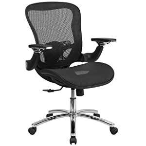 Flash Furniture Mid-Back Transparent Black Mesh Executive Swivel Ergonomic Office Chair with Synchro-Tilt & Height Adjustable Flip-Up Arms