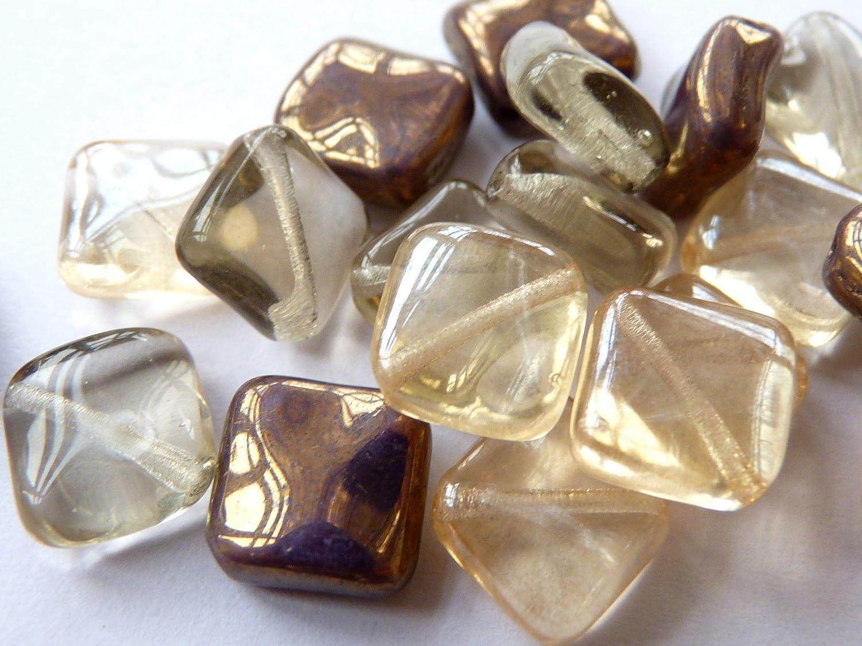 20/ /V021 PCS X 8/mm tschechische Fliesen Brick Glas quadratisch rechteckig Spacer Perlen/ /Gold und Braun Mix/