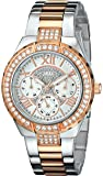 """GUESS Women's U0111L4 """"Sparkling Hi-Energy"""" Silver- And Rose Gold-Tone Watch"""
