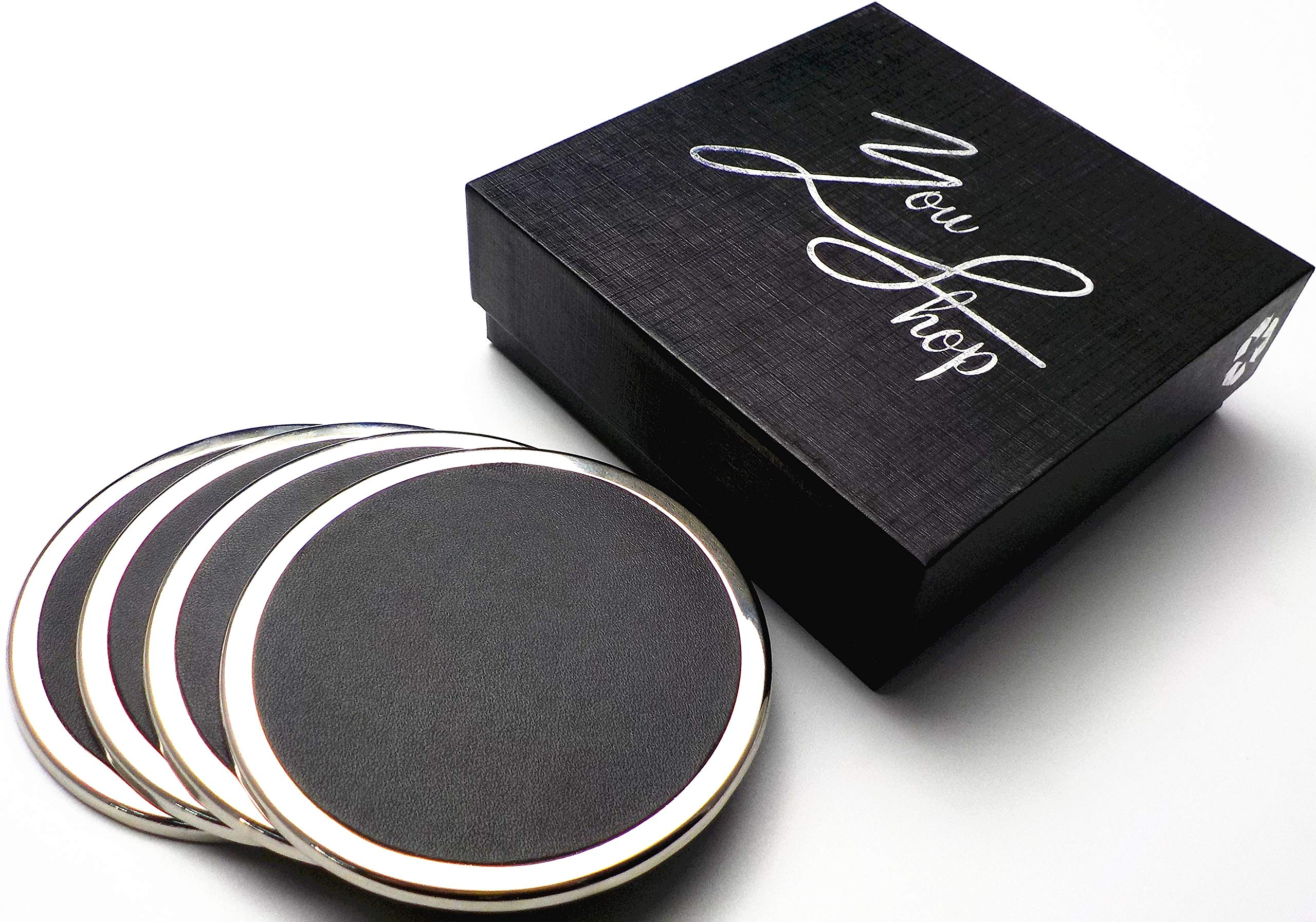 YouShop Luxury Coasters for Drinks - Premium Metal, Black Leather, Velvet Base | Contemporary and Clean Style, Modern Coaster Set for Living Room, Kitchen, or Office Cup Coasters | Protect Furniture by YouShop (Image #7)