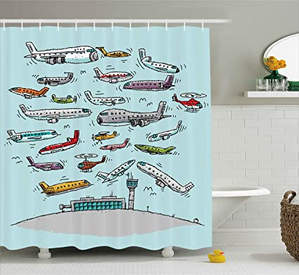 Ambesonne Airplane Decor Shower Curtain Planes Fying In Air Aviation Love Airport Helicopters And Jets