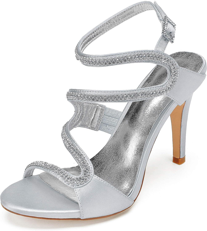 MarHermoso Womens Peep Toe Side Strap High Heels Elegant Satin Wedding Sandals