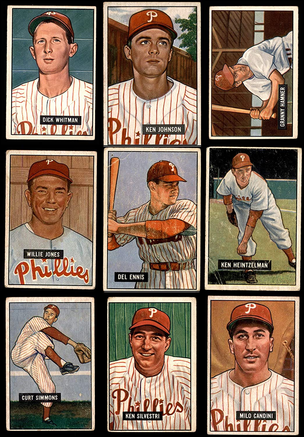 1951 Bowman Philadelphia Phillies Team Set Philadelphia Phillies (Baseball Set) Dean's Cards 2.5 - GD+ Phillies 91V3Uzb2BoCLSL1500_
