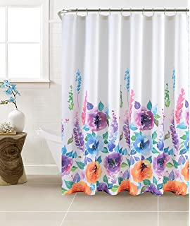 Mysky Home Floral Design Print Waffle Check Waterproof Polyester Fabric Bathroom Shower Curtain Liner With Hooks