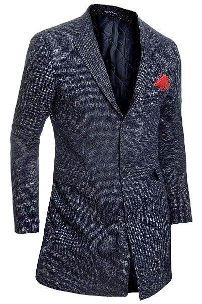 D&R Fashion Hombre Elegante Abrigo de Invierno Cachemira Lana 3/4 de Largo Chaqueta Abrigo