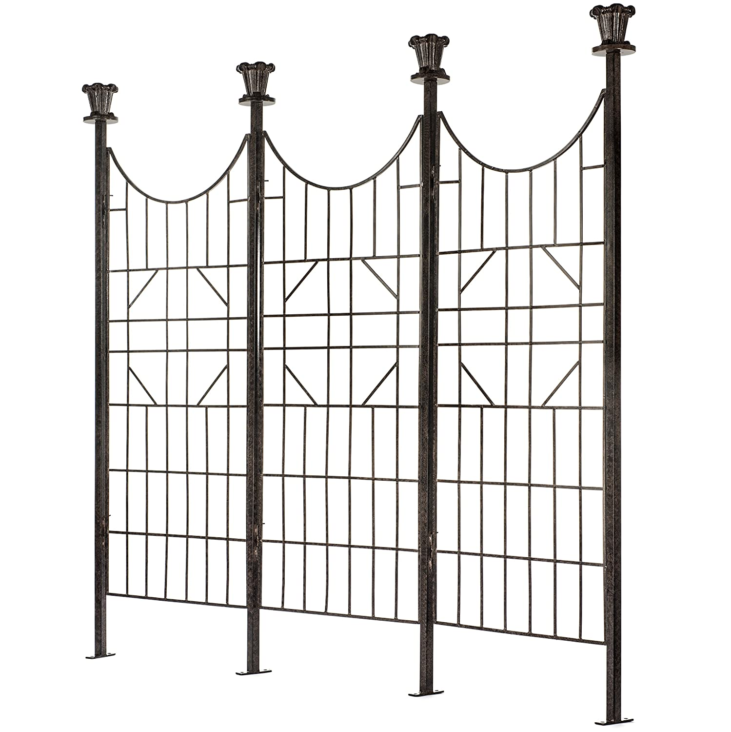 H Potter Large Iron Garden Trellis for Climbing Plants Patio Screen Deck Privacy Fence