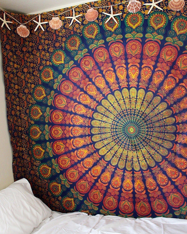215x230Cms 84x90Inches D/écoration murale /à suspendre ou jet/é de lit de style indien Queen avec mandala plume de paon hippie Coton Boh/ème Golden Blue