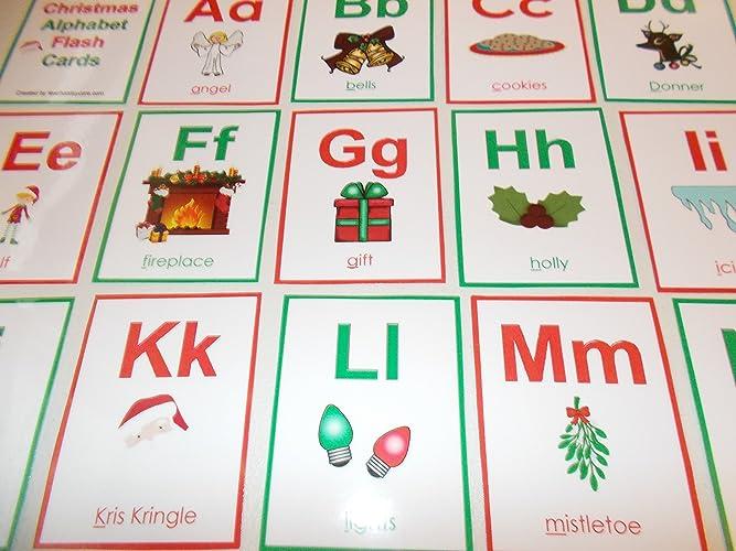 Christmas Alphabet.Amazon Com 26 Laminated Christmas Alphabet Preschool