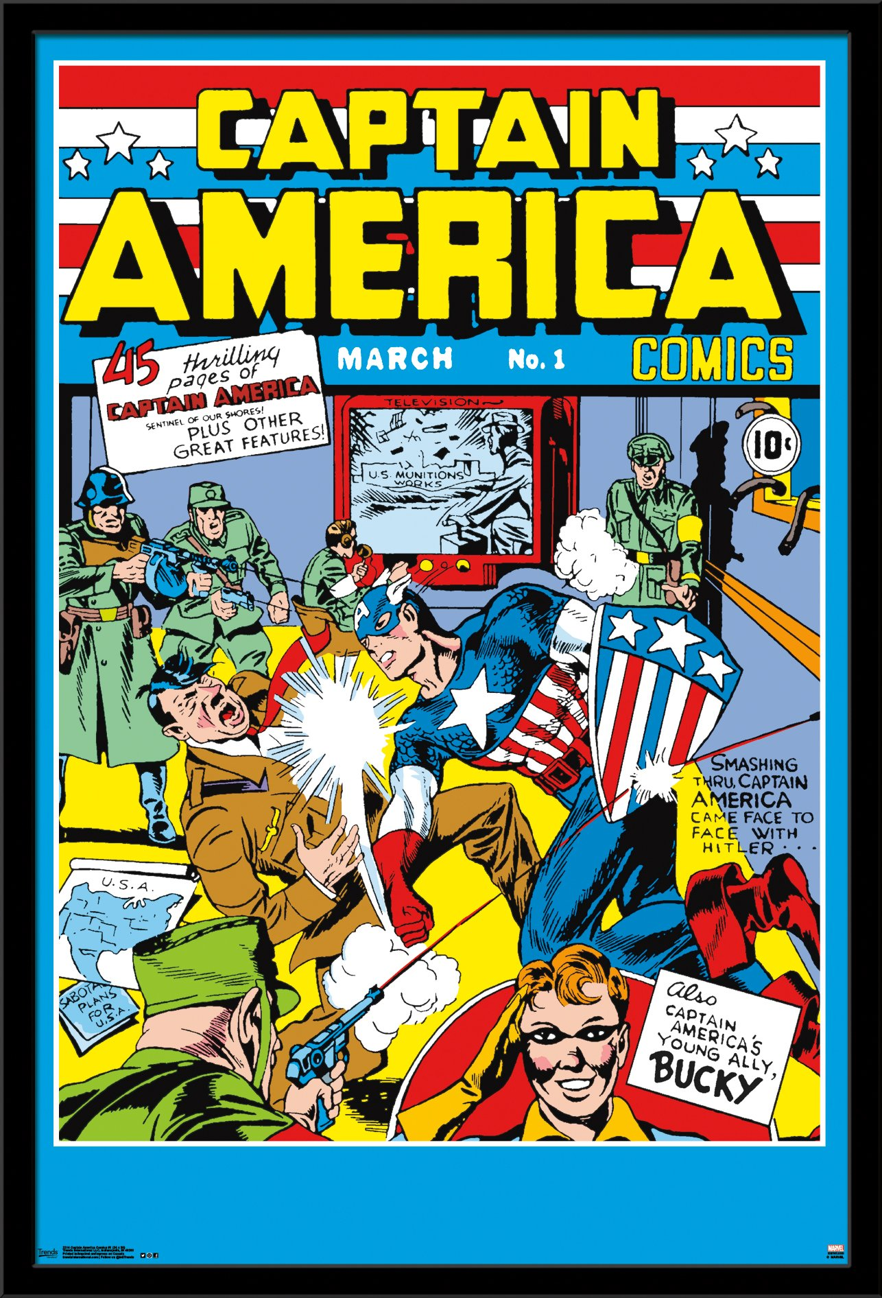 Trends International Wall Poster Captain America Comics No.1, 24 x 36