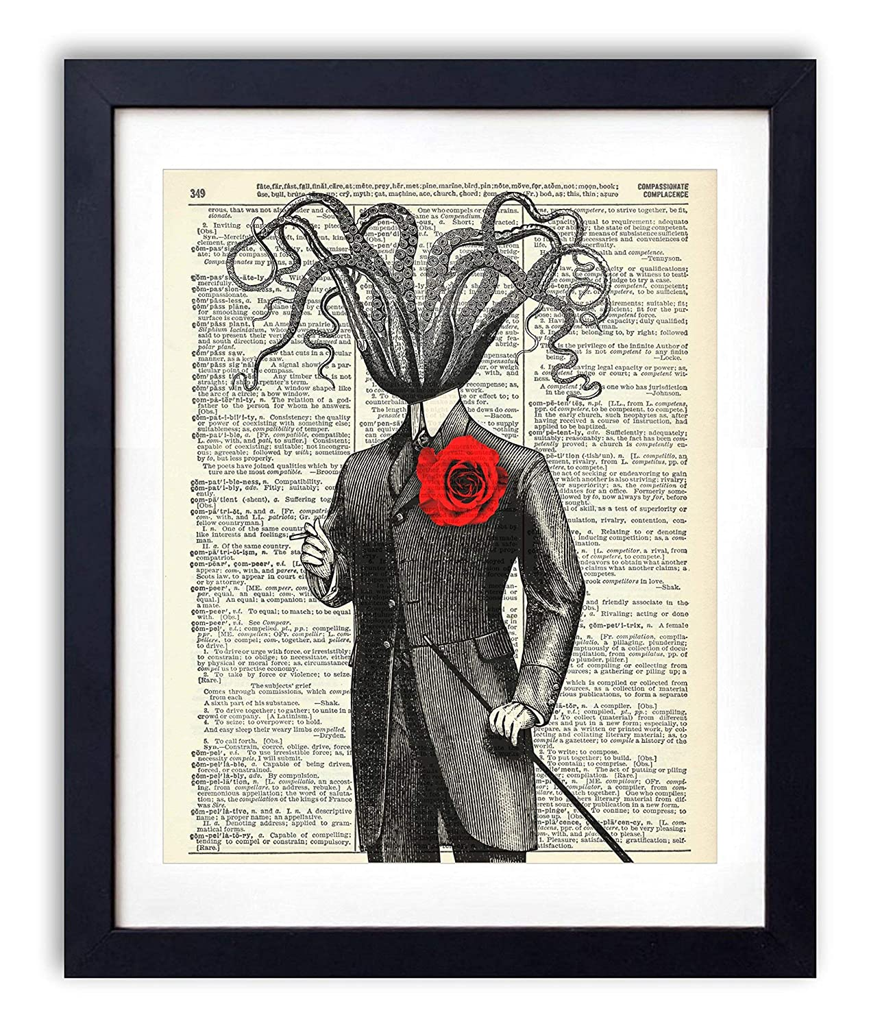 Victorian Gentleman Octopus Upcycled Vintage Dictionary Art Print 8x10