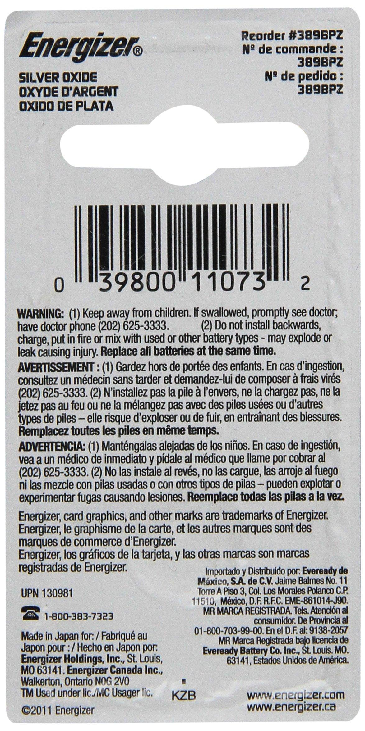 Energizer 389BPZ Zero Mercury Battery - - 1 Pack