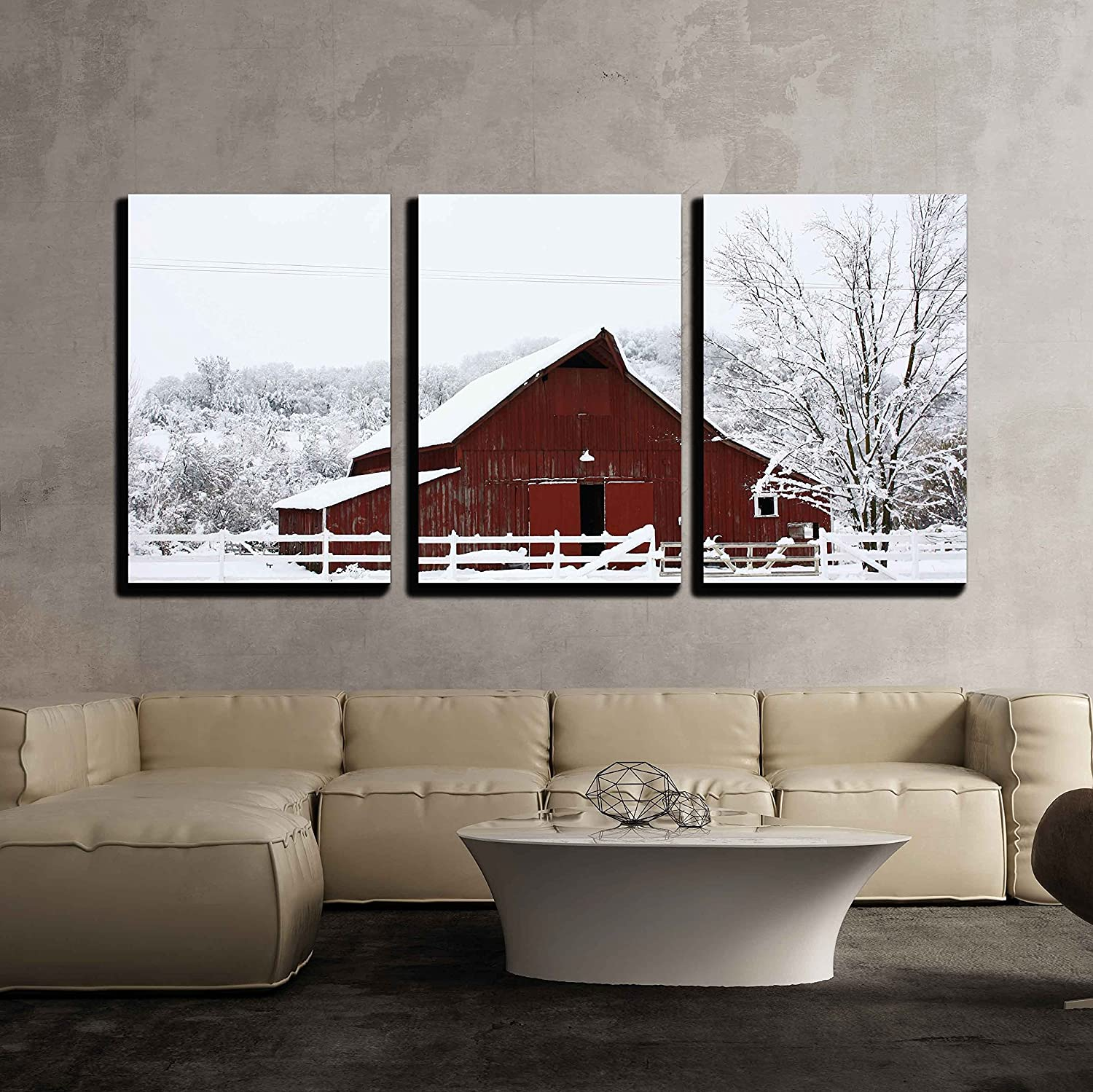 "wall26 - Big Red Barn in The Snow - Canvas Art Wall Decor - 16""x24""x3 Panels"