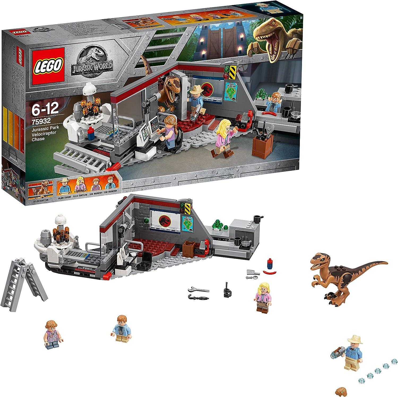 LEGO Jurassic World Caza del Velociraptor en Parque Jurásico, Juguete de Dinosaurio de Construcción Divertido de la Mítica Escena de la Película, Incluye Minifiguras de Alan, Ellie, Lex y Tim (75932)