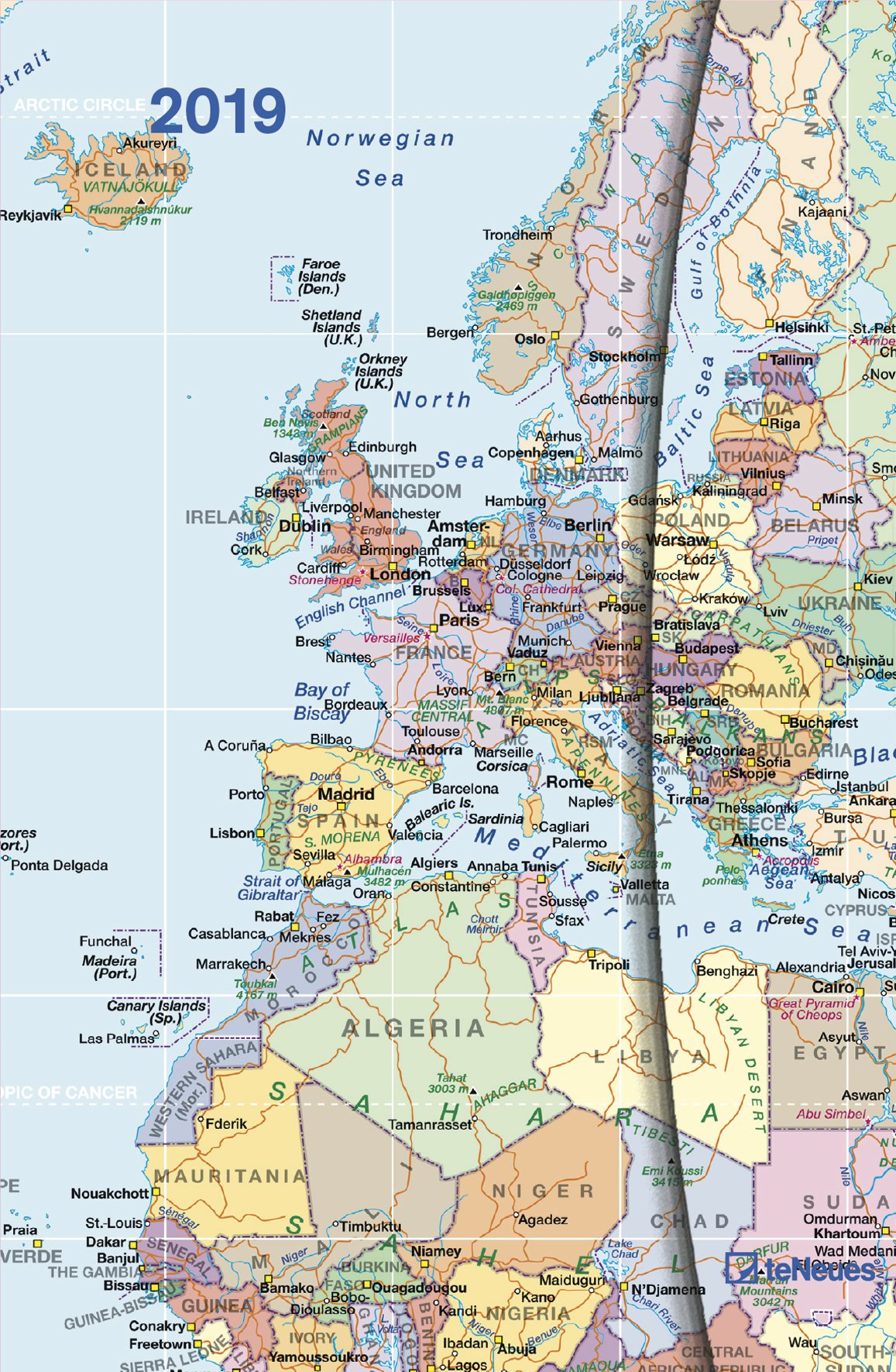 English Map Of The World.2019 World Maps Diary Teneues Magneto Diary 10 X 15 Cm English