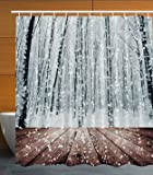 Ambesonne Winter Wonderland Decorations Black Forest Trees in White Snowflakes, Polyester Fabric Bathroom Shower Curtain Set with Hooks