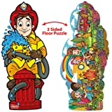 DOUzzle Jumbo Firefighter & Campfire with Firetruck, Double Sided Jigsaw Floor Puzzles, for Kids Ages 4-8 Years Old (48 pcs, 3 feet)