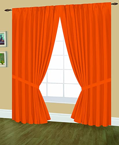 Editex Home Textiles Elaine Lined Pinch Pleated Window Curtain, 144 by 63-Inch, Neon Orange
