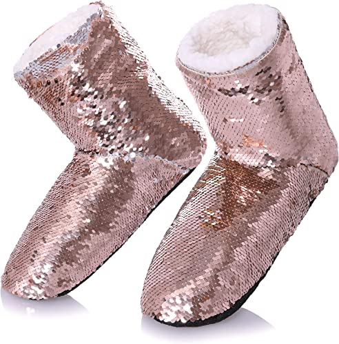 Ladies Reversible Sequin Slippers Womens