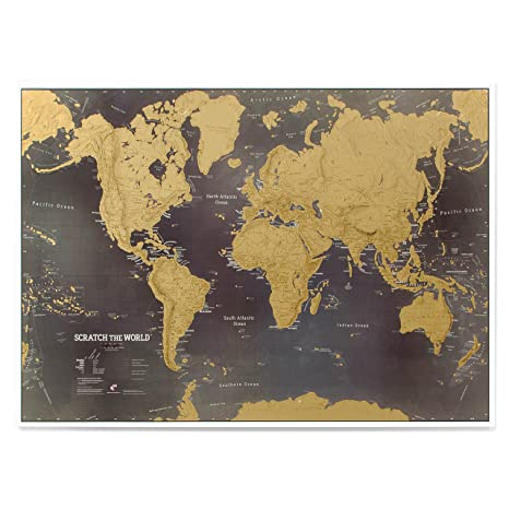 Amazon scratch the world black world map poster scratch off scratch the world black world map poster scratch off places you travel cartographic gumiabroncs Images