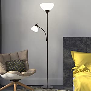 Lavish Home 72-Torch-4 Torchiere Floor Lamp with Reading Light-Sturdy Metal Base Black Finish