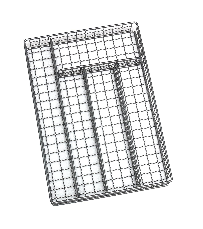 Lipper International 8167 Flatware Organizer, 5 Compartments, Metal Wire, 10 x 14 x 2-1/8, Silver