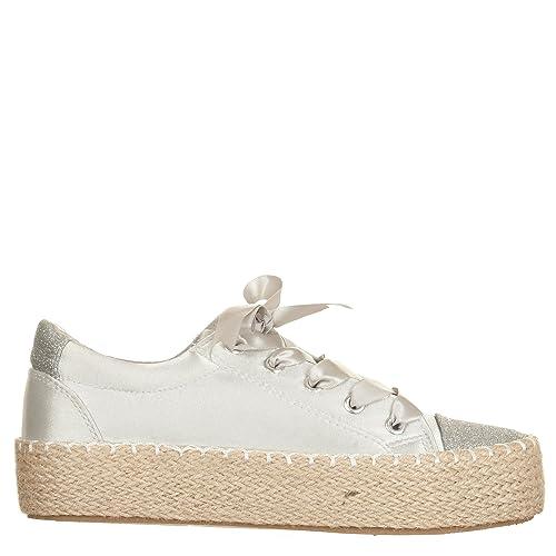 VialeScarpe - Alpargatas de Satén para Mujer Plateado Plateado 36 EU Plateado Size: 38 EU: Amazon.es: Zapatos y complementos