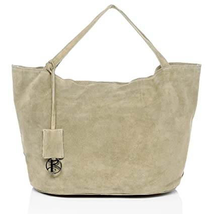 eb81a919b0 BACCINI Real Suede Leather top-Handle Tote Bag Selma Large Shoulder Bag  Handbag Leather Bag Women´s Bag Off-White  Amazon.co.uk  Luggage