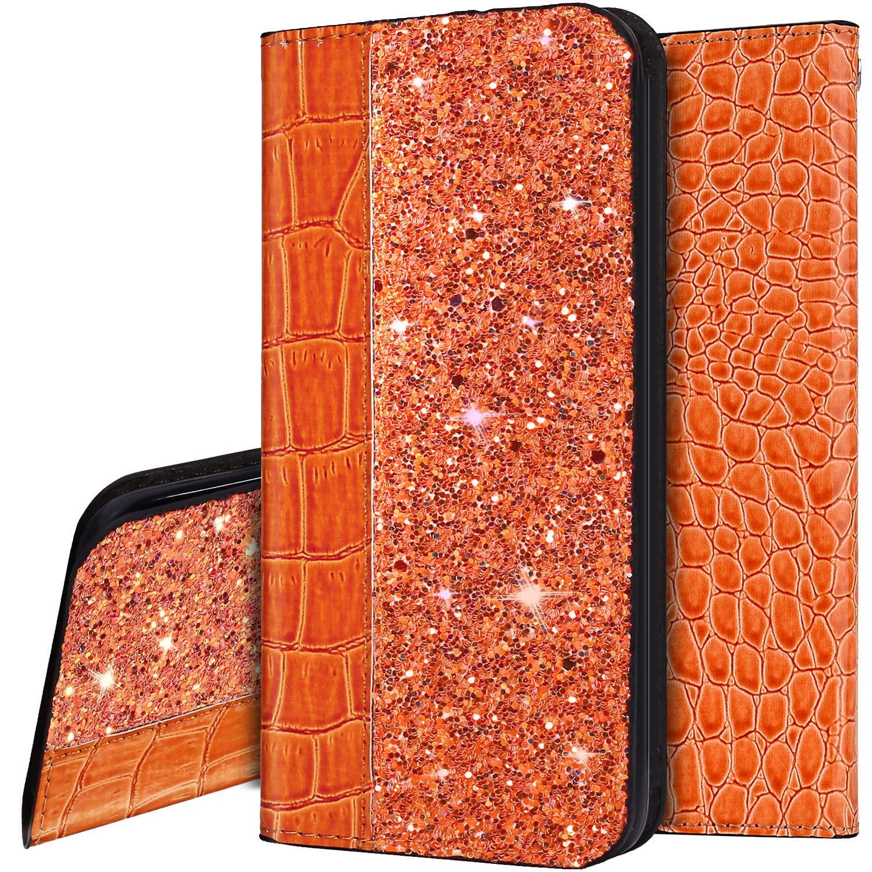 Surakey Cover Compatibile con Samsung Galaxy J7 Prime 2016//On7 2016 Custodia Flip PU Pelle Glitter Paillettes Case Libro Portafoglio Cover Modello Coccodrillo con Supporto Porte Carte Cover,Viola