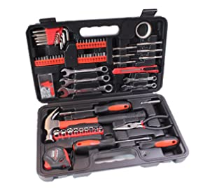 CARTMAN 148-Piece Tool Set - General Household Hand Tool Kit with Plastic Toolbox Storage Case (Color: Red 148Pk, Tamaño: 148pk)