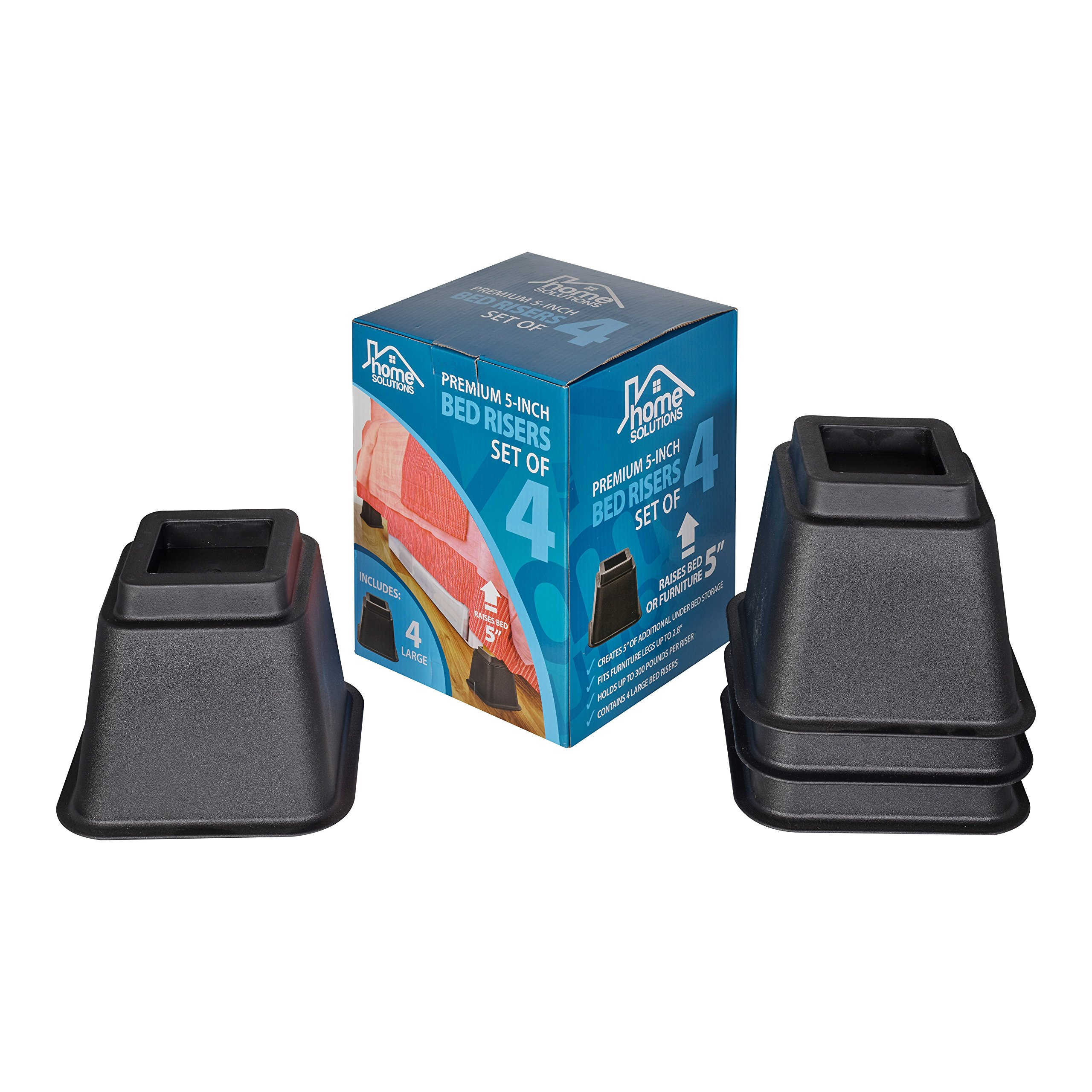 Home Solutions Premium 5-Inch Bed Risers or Furniture Risers, Table Risers, Chair Risers or Sofa Risers-The Perfect Bed Risers for Dorm Rooms (Set of 4) by Home Solutions
