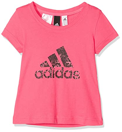 Adidas Yg Logo tee Camiseta, Niñas, Rosa (rosrea/rostiz / Negro)