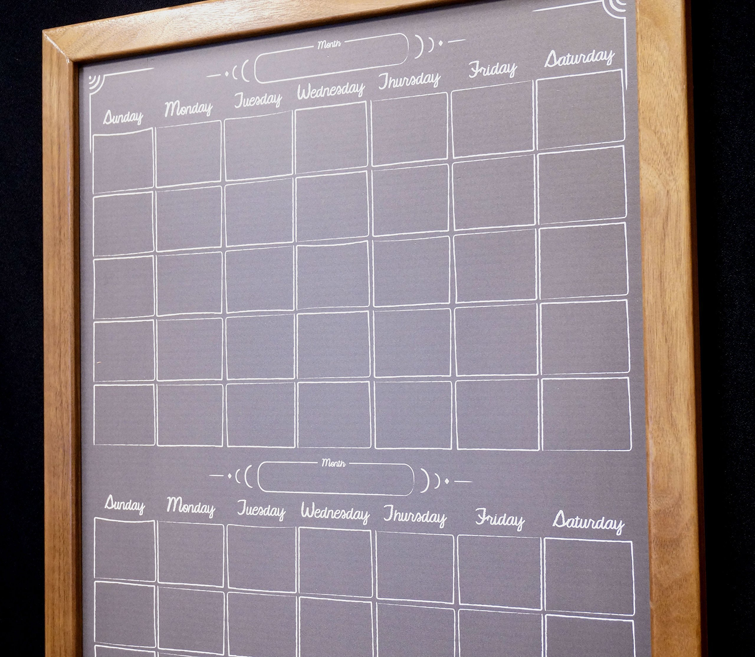 Two Month Black Chalkboard Calendar Dry Erase Board Whiteboard - Wood Framed Monthly Dry Erase Calendar - Large Chalkboard Wall Calendar