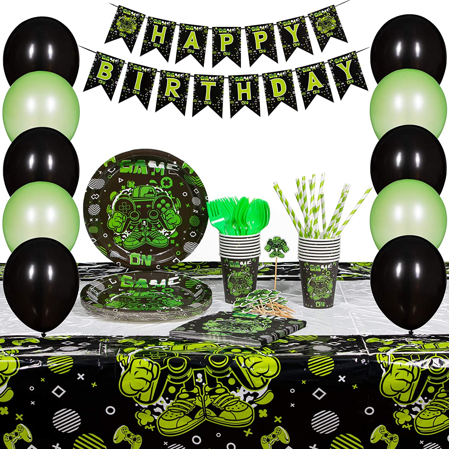 Innohero Video Game Party Supplies 124 Piece 16 Guests Includes Happy Birthday Banner Tablecloth Balloons Straws Cupcake Topper Plates Cups Napkins Forks Spoons