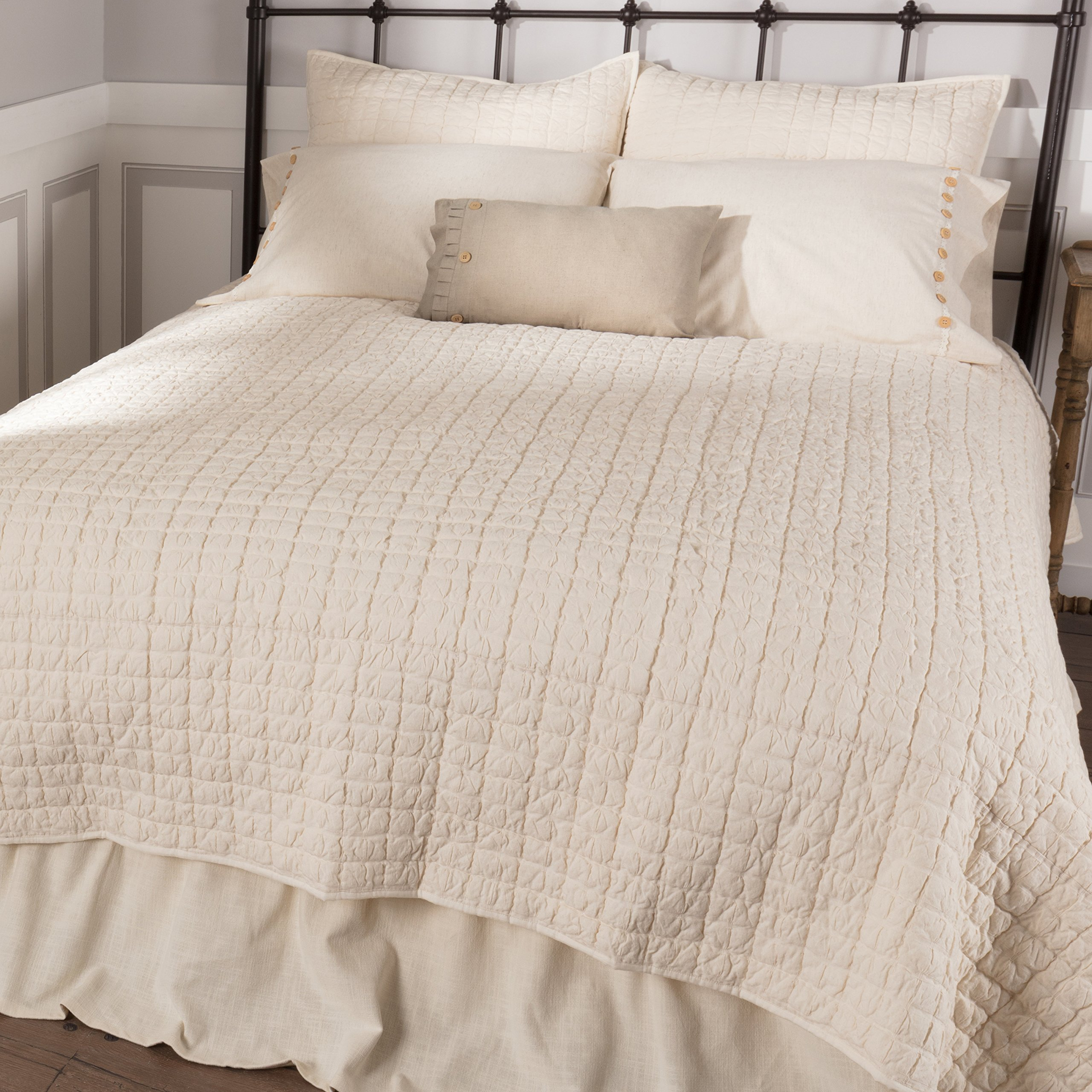 Piper Classics Clara's Cottage Natural Cream Quilt, Luxury King 105x120, Oversized, Vintage Farmhouse Style Bedspread