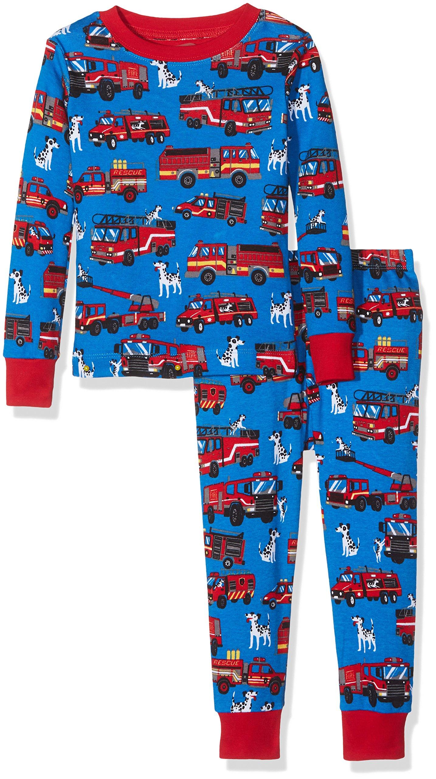 Hatley Boys' Big Organic Cotton Long Sleeve Printed Pajama Sets, Fire Trucks, 7 Years