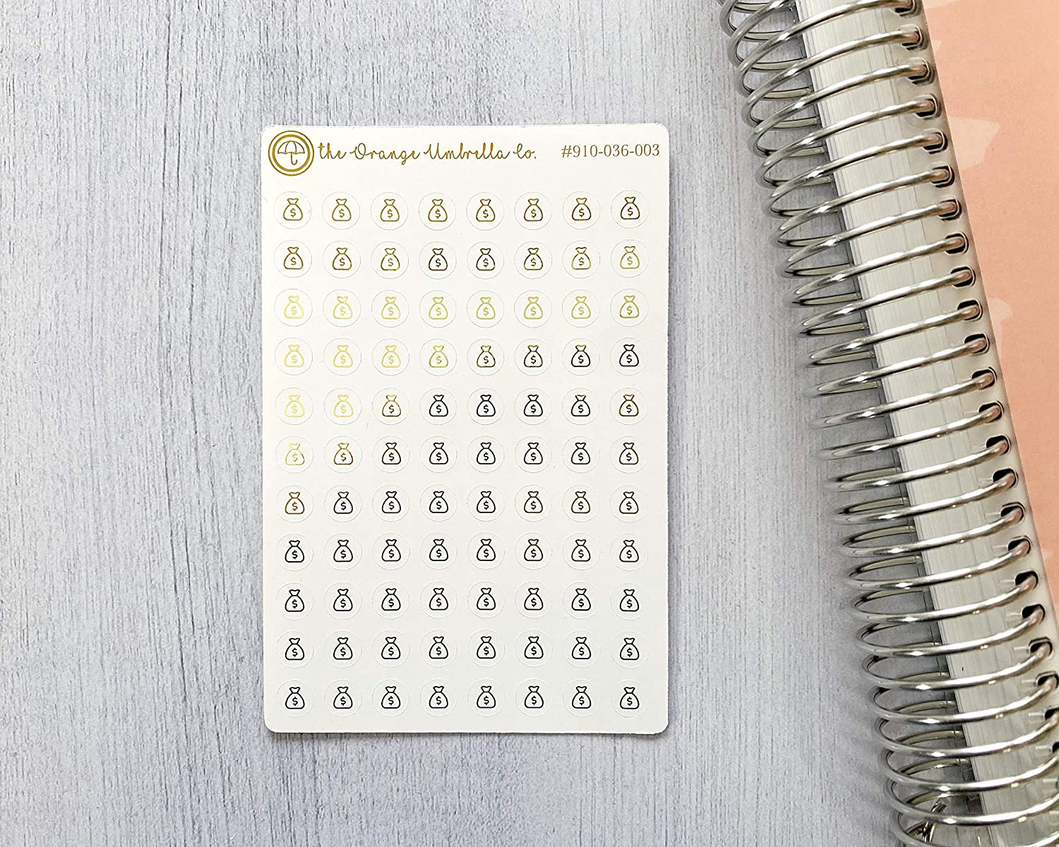 #910-036-003-F-WH Payday or Savings Deposit Budget Planner Stickers Circle Budget Icon Planner Stickers Color Foil Budget Icon Stickers
