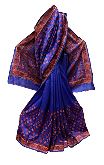 Buy Nima S Collection Women S Silk Sorno Katan Ethnic Bridal Lehenga Saree With Kantha And Gujarati Work And Blouse Indigo Blue At Amazon In