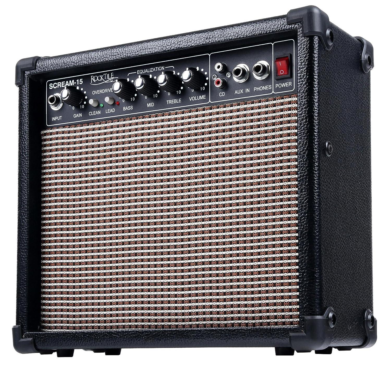 correa y cable Rocktile L-50B Junior escala 3//4 guitarra el/éctrica set con amplificador