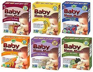 Peaceful Squirrel Variety, Hot-Kid Baby Mum-Mum Rice Rusks Variety Pack of 6 (Organic Original, Banana, Vegetables, Apple & Pumpkin, Carrot & Sweet Potato, Blueberry & Goji) - 1.76 Ounce