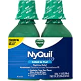 Vick NyQuil Cough Cold and Flu Nighttime Relief, Original Liquid, 2x12 Fl Oz