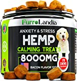 FurroLandia Hemp Calming Treats for Dogs - 170 Soft Chews - Made in USA - Hemp Oil for Dogs - Dog Anxiety Relief - Natural Calming Aid - Stress - Fireworks | Aggressive Behavior (Bacon Flavor)