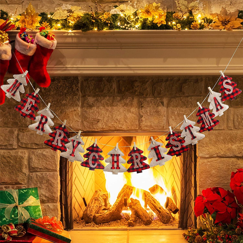 Merry Christmas Banner, Burlap and Buffalo Plaid Tree Shaped Christmas Decoration, Sewn Christmas Decor, Hand Made Farm House Merry Christmas Banner