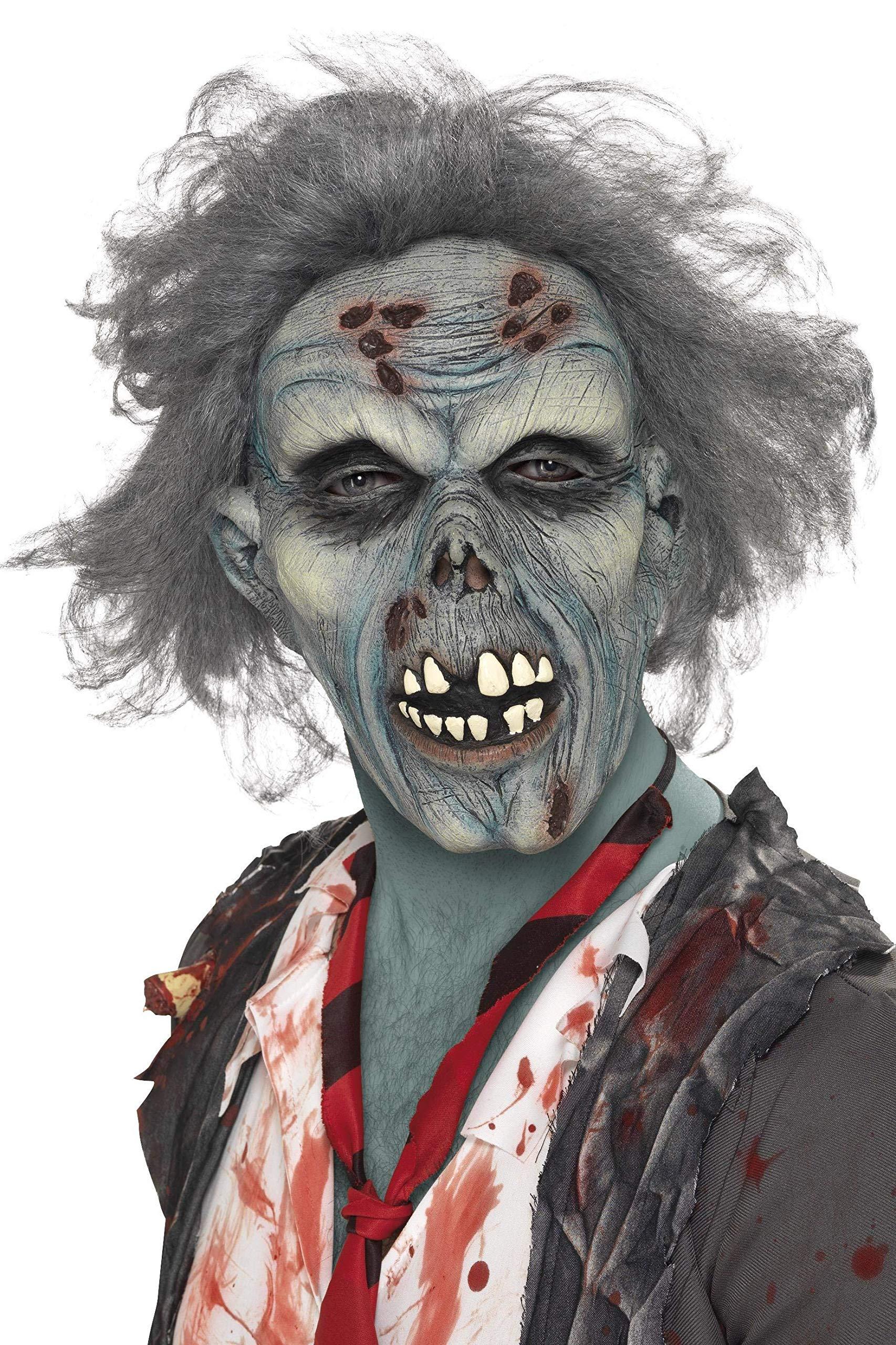 Smiffys 36852 Déguisement Homme Masque de Zombie Pourri Tête Complète Latex, Gris, Taille Unique product image