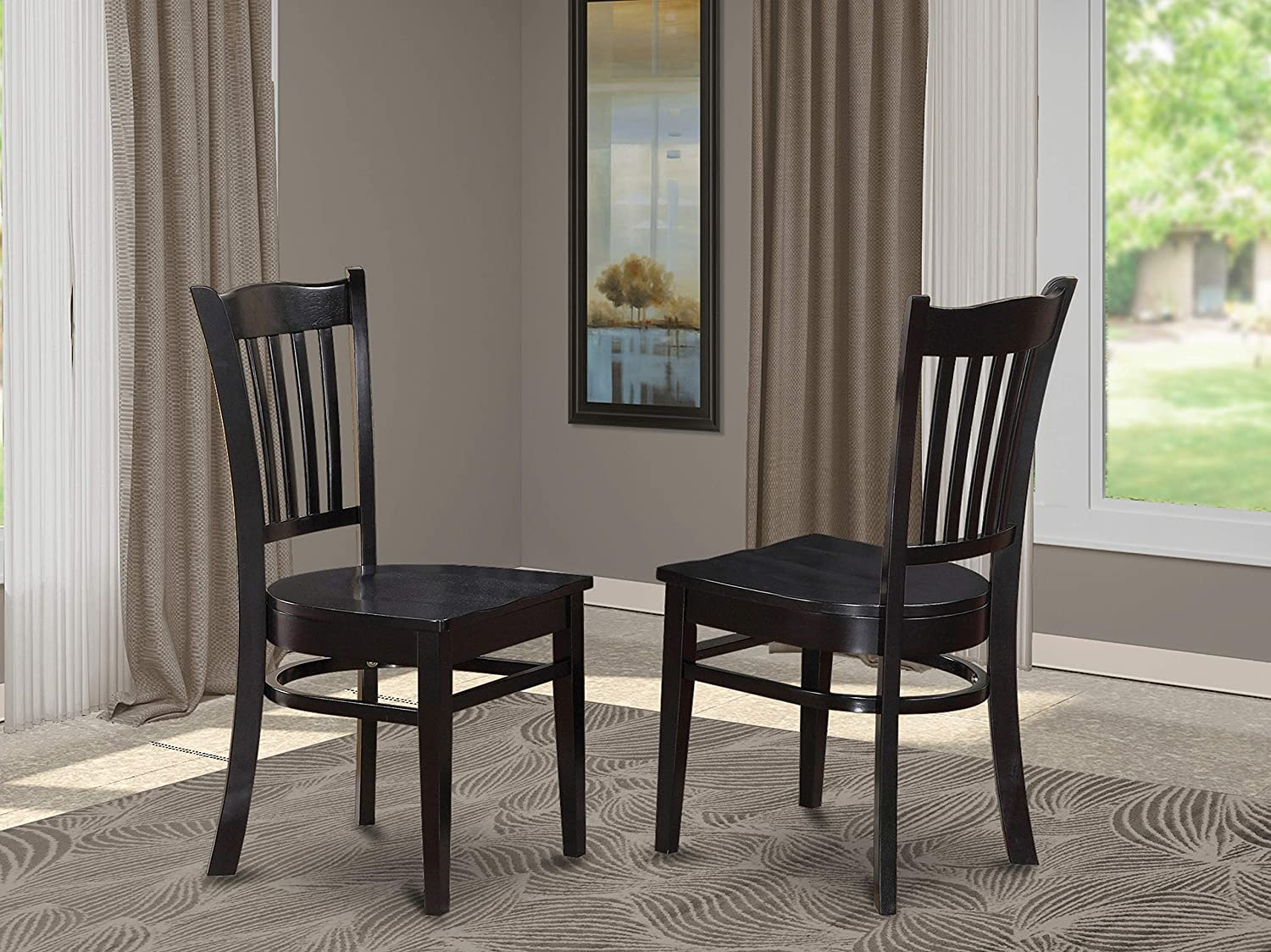 East West Furniture Groton Dining Chairs Set Of 2 Hardwood Seat And Black Solid Wood Frame Kitchen Chairs Chairs