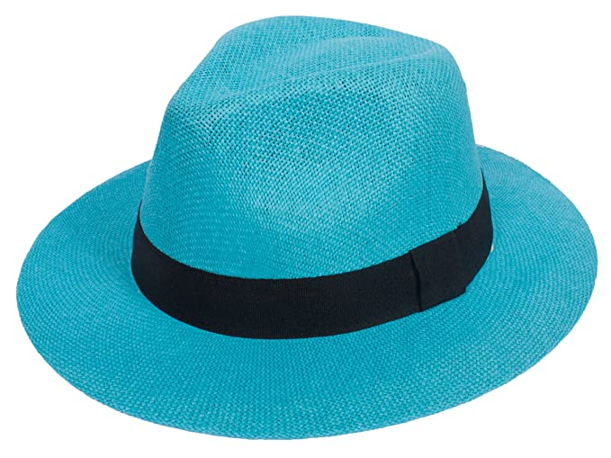 DRY77 Cool Straw Panama Hat Wide Large Flat Brim Fedora Outback Men Women  Beach 9a18e17da77b