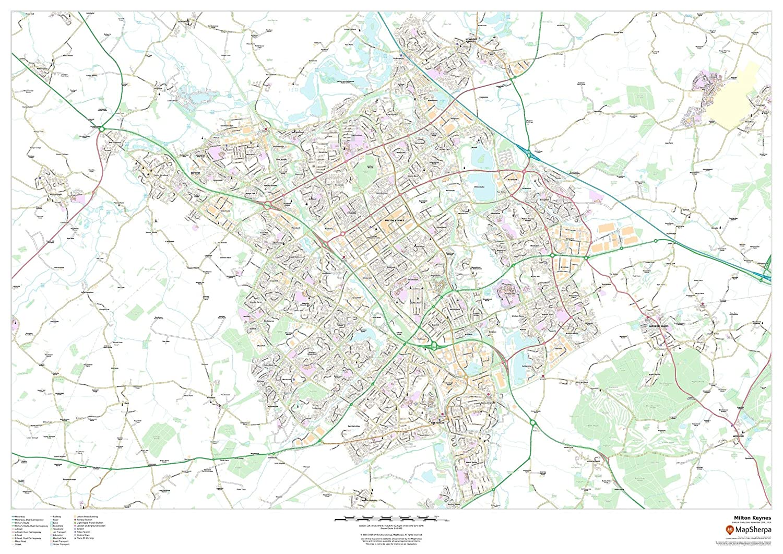 Milton Keynes 47 x 33.25 Paper Wall Map