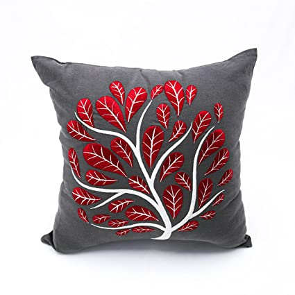 Amazon KainKain Grey Decorative Pillow For Couch Embroidery Red Classy Red And Gray Decorative Pillows
