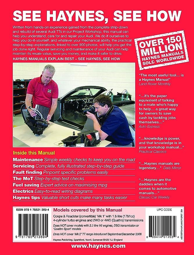 audi tt 1 8t 1999 to 2006 haynes manual amazon co uk car motorbike rh amazon co uk Workshop Manuals for Cars Haynes Titanic Workshop Manual